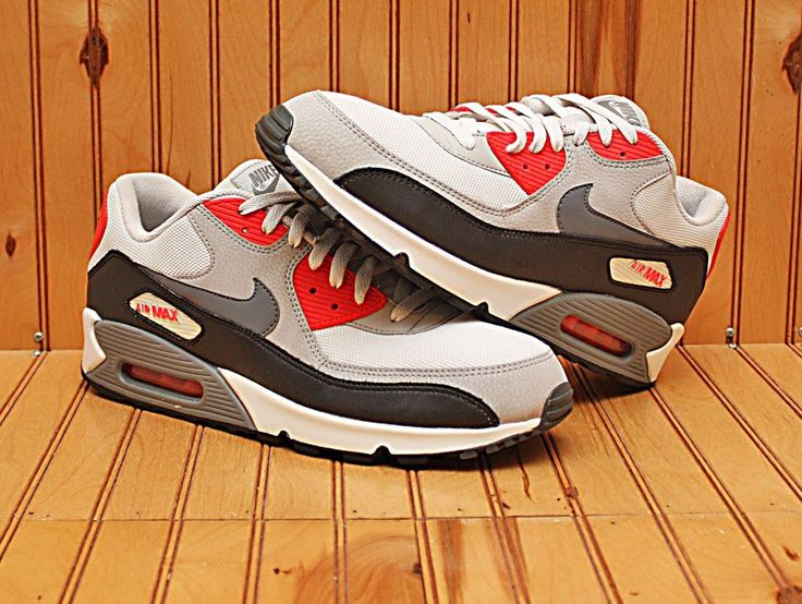 2013 Nike Air Max 90 Essential Size 12 -White Grey Infrared Black- 537384 108 | Clothing, Shoes & Accessories, Men's Shoes, Athletic | eBay!