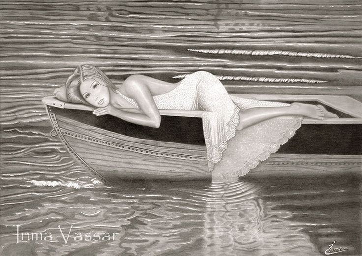 Marisabel (Beauty from the sea) Graphite & Acrylic Paint Drawing by Inma Vassar