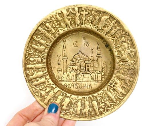 Vintage Brass Trinket Dish Depicting Hagia Sophia Museum in Istanbul, Turkey