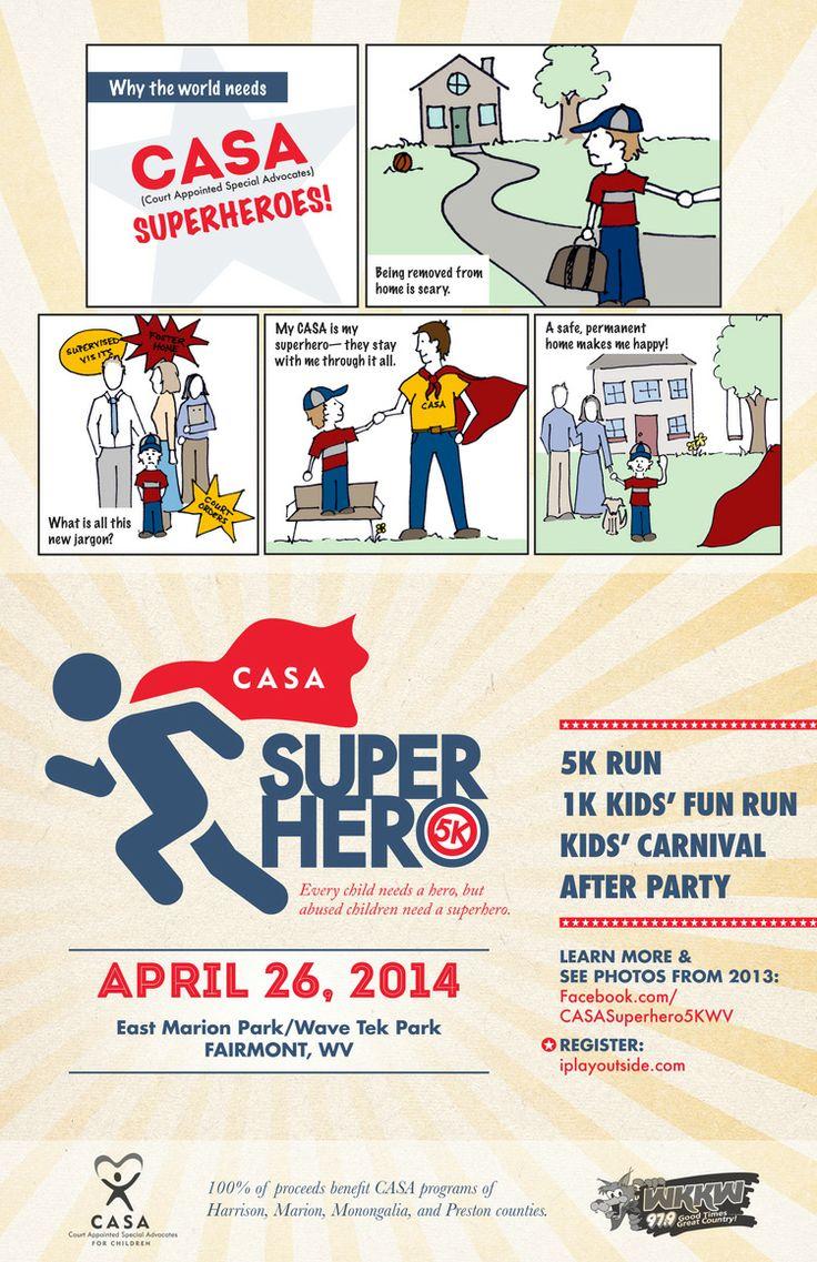 5k poster design - Casa Superhero 5k Poster Design By Little Fish Design Company Morgantown Wv