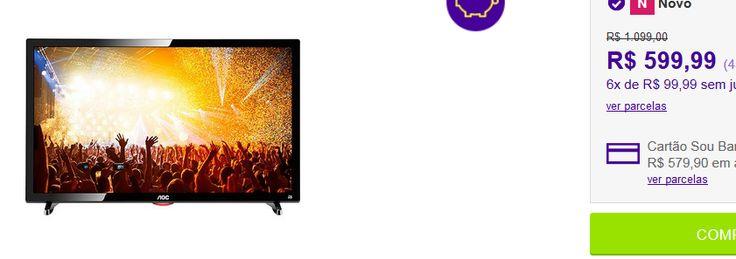 """TV LED 24"""" AOC LE24D1461 Full HD com Conversor Digital 2 HDMI 1 USB 60Hz << R$ 48599 >>"""