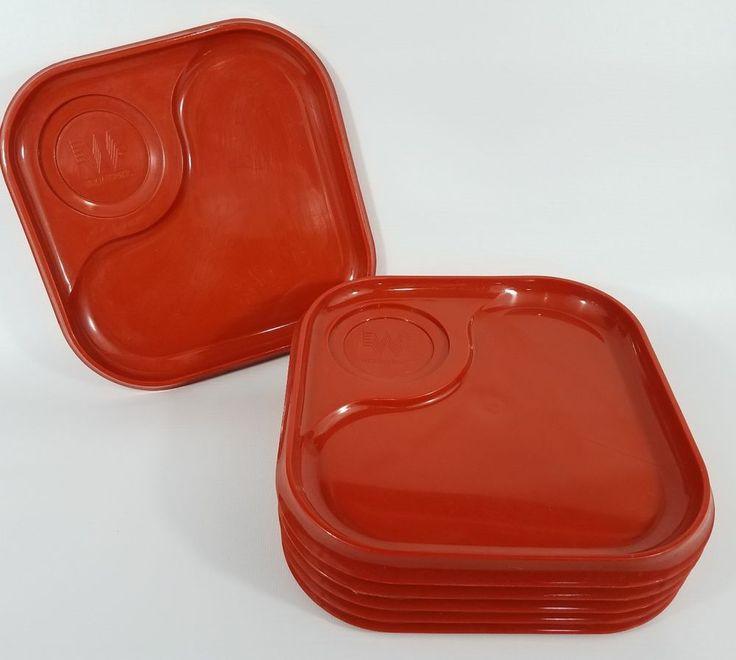6 Vintage Whataburger Trays Plastic Orange Plates Square Lunch Serving Dishes