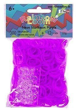 Rainbow Loom Neon Lila met 12 clips. Nieuwste rage, wees er snel bij! Maak met de clips en elastiekjes de mooiste armbandjes en accessoires. Dit zakje bevat maar liefst 300 neon lila paarse elastiekjes en 12 clips.  http://www.planethappy.nl/rainbow-loom-neon-lila-met-12-clips.html