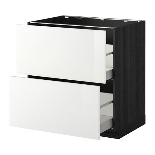 METOD/MAXIMERA Benkeskap 2 fr/2 h skuff - tremønstret svart, Ringhult høyglans hvit, -, 80x60 cm - IKEA