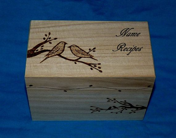 Decorative Wooden Recipe Card Box Wood Burned by EssenceOfTheSouth, $68.50