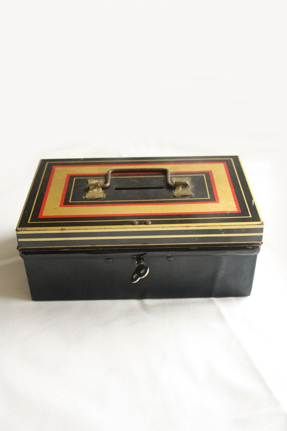 Vintage tin money box - I remember these, forever losing the key but loved it.