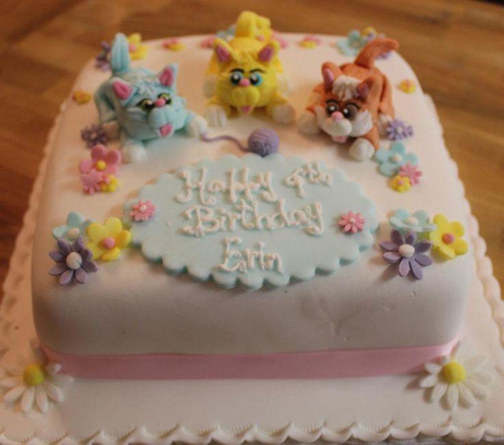 Playful cat themed children's birthday cake