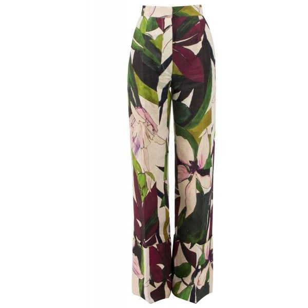 Erika Cavallini Semi-Couture Mayon Floral Trousers ($410) ❤ liked on Polyvore featuring pants, jeans, wide leg linen pants, cuffed pants, linen pants, high-waist trousers and wide-leg pants