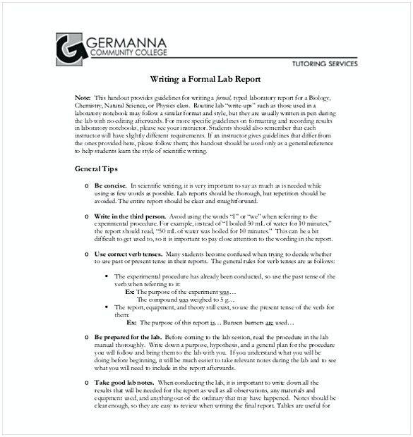 Apa Format Lab Report