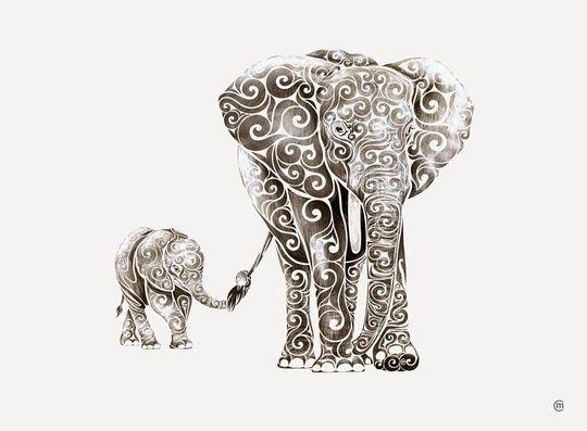 Elephant momma and baby. Tattoo.  Art. Elephant Strength
