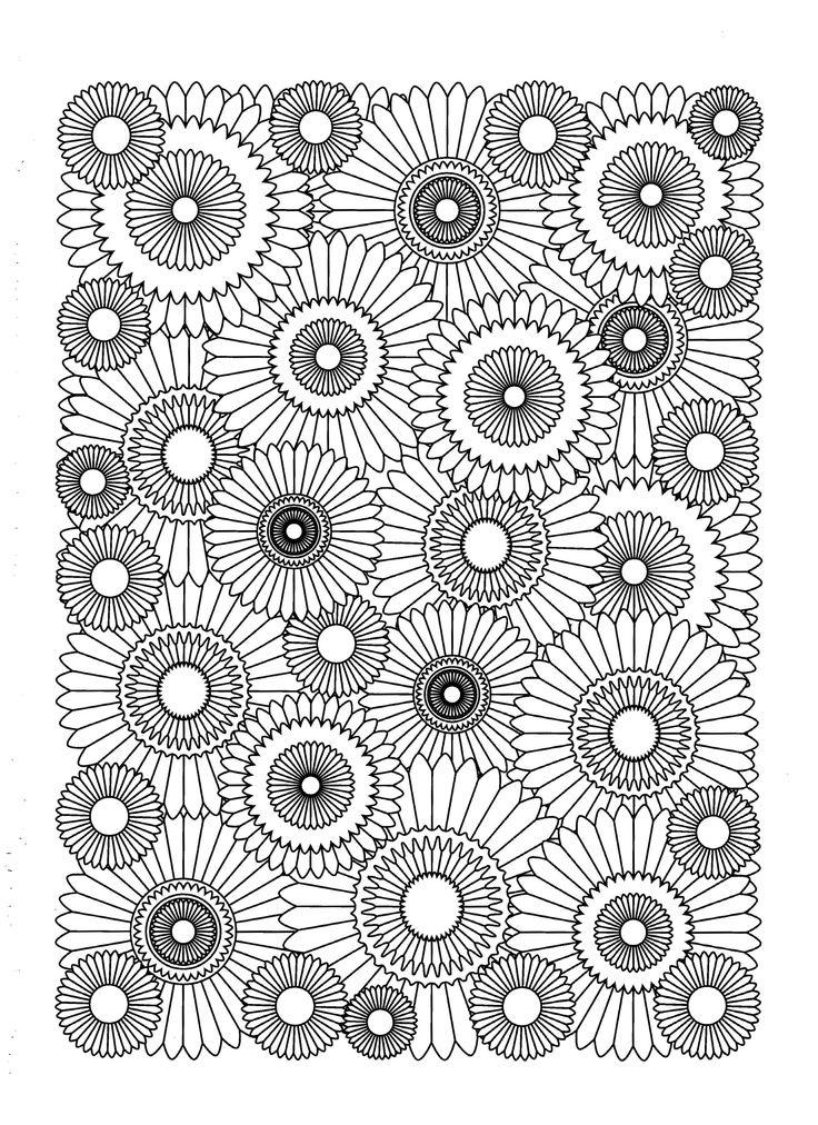 Free coloring page «coloriage-adulte-fleurs-tournesols».