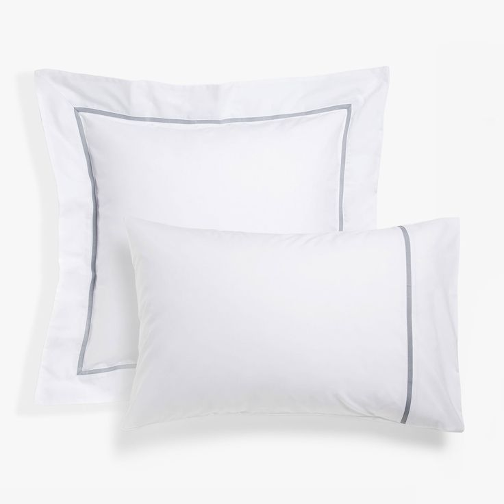 Image 1 of the product White pillow case with grey ribbon trim