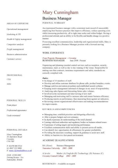 sample business resume format