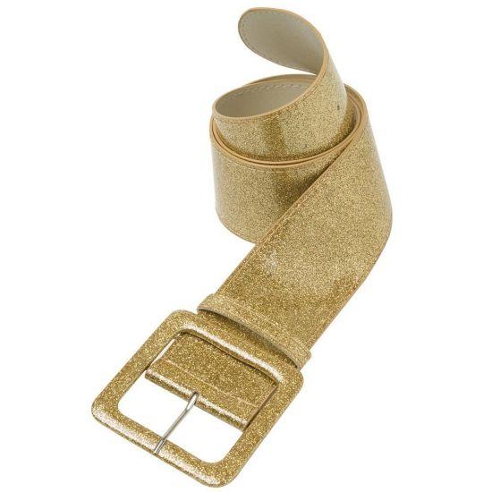 Brede gouden glitter riem met een grote gesp. Deze gouden glitter riem is ongeveer 110 cm lang en 6 cm breed. Maak uw kostuum compleet met gouden glamour en glitter riem.