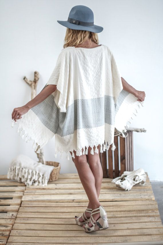 Beach Boho Kimono Tassel | Turkish Towel Bathrobe| Summer Beige Robe Peshtemal |White Beach CoverUp |Cotton Fringe Tunic Jacket | Wrap Shawl