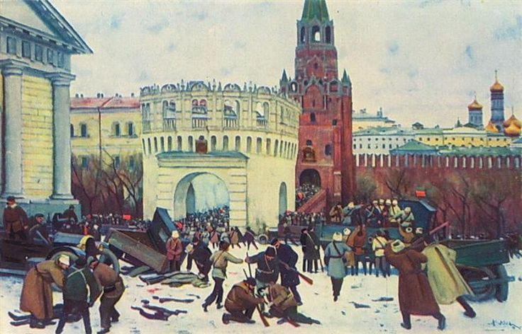 Entry into the Kremlin through the Trinity Gates 2 (15) November 1917, 1929 by Konstantin Yuon. Socialist Realism. history painting