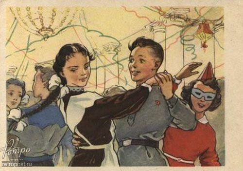 Открытка 1 сентября, Школьный бал, Неизвестен, 1957 г.