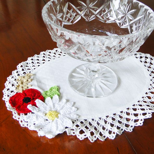 Pretty Upcycled Vintage Linen and Lace Doily - Poppy Field