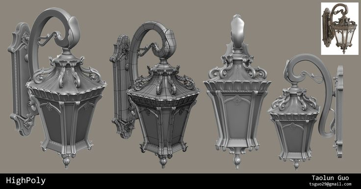 Victorian Wall Light game prop. Lowpoly, Highpoly, and texture maps breakdown.