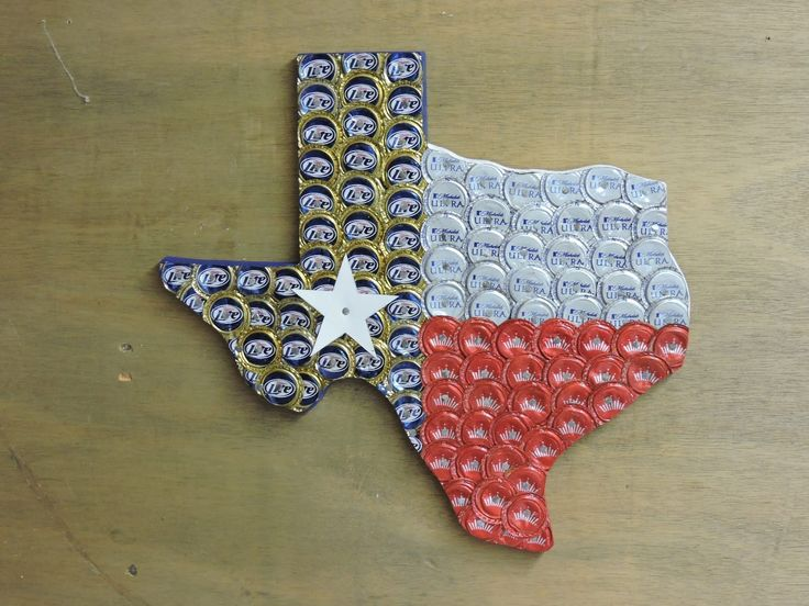 "Bottle Cap Texas - Outline of Texas covered in Bottle Caps to look like the Texas Flag (Miller Lite, Bud, Michelob Ultra). Bottle Cap Texas. Outline of Texas covered in bottle caps to look like the Texas Flag. Dimensions are approximately 16"" by 15"" -- longest point to longest point (El Paso to Gulf; Panhandle to Brownsville). Caps are flattened and then nailed to 7/8"" plywood. They overlap so you only see bottle caps, no wood. Star is made from metal. Beer caps are Miller Lite, Mic Ultra..."