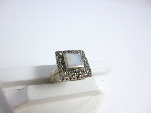 Marcasite Ring, Mother of pearl Ring, Sterling Silver, Square Ring, Vintage, Marcasite Jewelry, Pearl Ring by perlizjewelcreations on Etsy