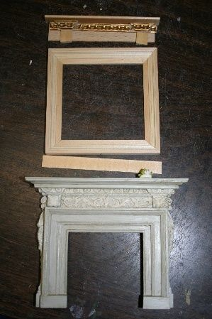 Clever faux fireplace mantel using picture frames and moldings. The link shows how cute the room is! I thought it was a doll house!