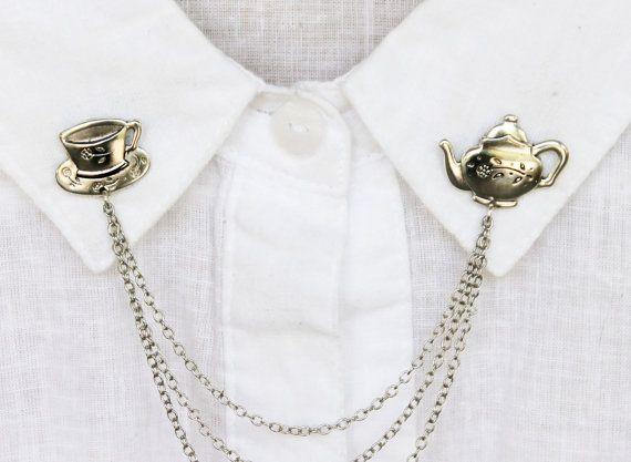 silver teapot collar pins, collar chain, collar brooch, lapel pin, teapot pin…