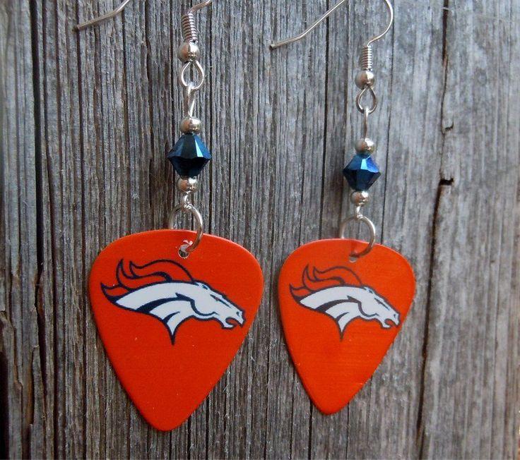 NFL Denver Broncos Horse Guitar Pick Earrings with Blue Swarovski Crystals #DenverBroncos