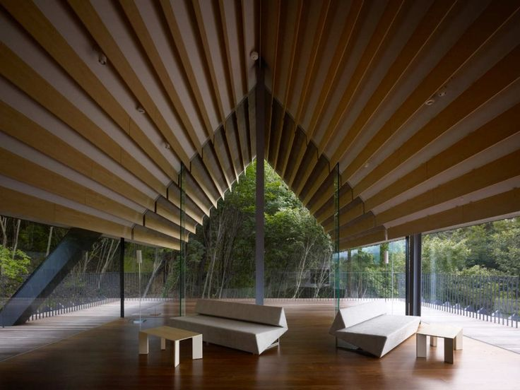 Momofuku Ando Center, Kengo Kuma. nagano, japan. the roof acts as a canopy or tent for the long building which is a place to eat, sleep, study. beautiful and simple