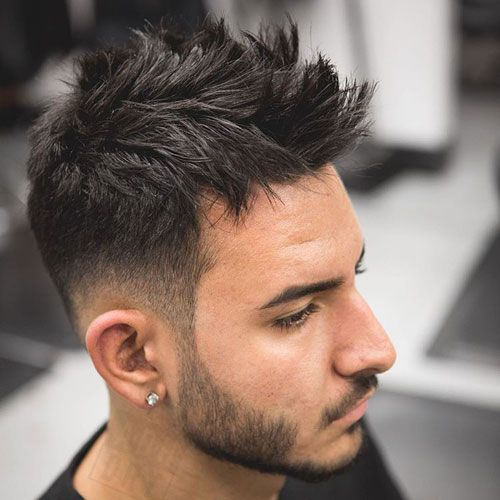 Messy Spiked Hair with Low Fade and Beard
