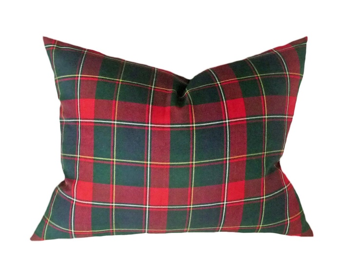 Red Plaid Throw Pillow Cover : Plaid Throw Pillow, Tartan Plaid Decorative Couch Cushion Cover, Red Blue Green, Christmas ...