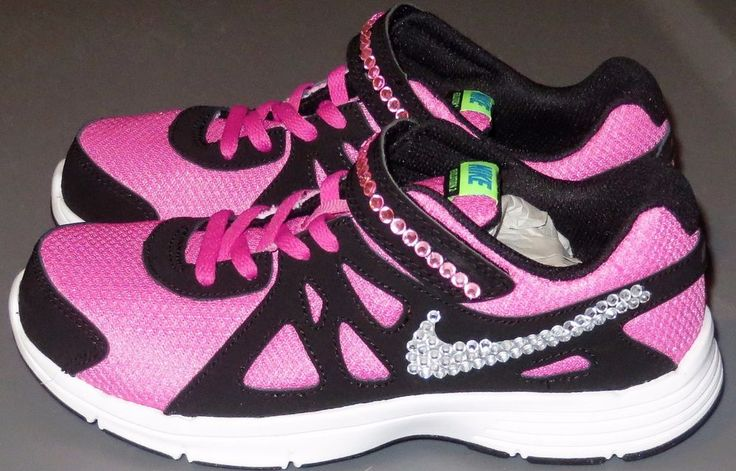 NIKE SNEAKERS FOR GIRL'S SIZE 2.5 YOUTH 2.5Y CUSTOM BLING SPARKLES CRYSTALS NEW #NIKE #Athletic