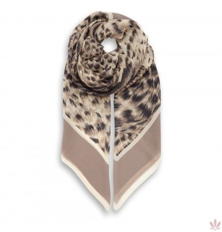 Leopard Dreams Camel Square Georgette Scarf. Free shipping by Fulards.com