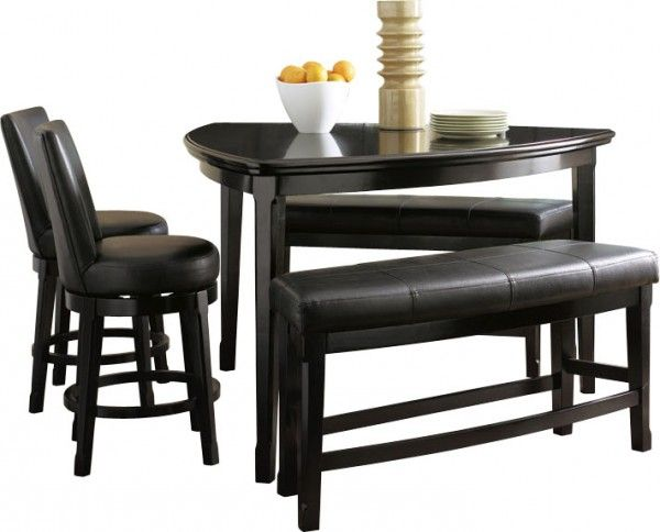 triangledinning tables | Emory 5 Piece Triangular Counter Height Dining Set with Benches ...