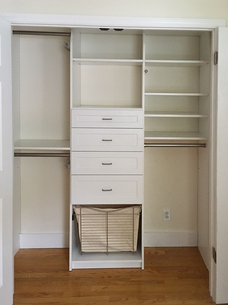 Floor based, white melamine reach in Closet with hamper, shelves, single and double rod and drawers in white melamine. If you are on a budget try out the ones sold at home improvement stores. If you are handy and have the tools installing a similar closet will take you about 4-6 hours.