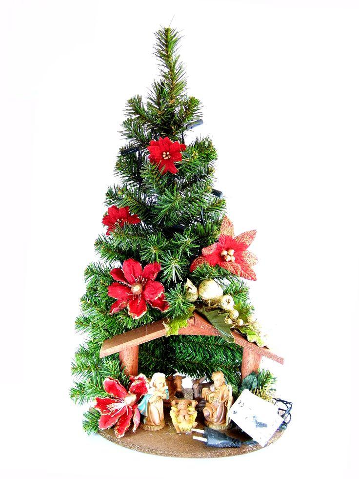 Albero di Natale con statue Natività modello Rubino   Albero di natale sintetico, con luci, statue Natività, capanna e decori floreali   DIMENSIONI larghezza cm 30 profondità cm 30 altezza cm 55   CARATTERISTICHE collana n. 10 luci bianche (tonalità calda, alimentazione 220 V) statue in resina con capanna  Disponibile al seguente link  http://www.ovunqueproteggimi.com/collezione-statue/articoli-natalizi/alberi-di-natale/