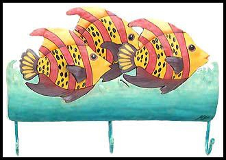 "Pink & Yellow Tropical Fish Wall Hook - Hand Painted Metal Towel Hook - Tropical Decor - 10"" x 15""   -  Beach home decor - Tropical interior decorating - Tropical decor - Painted metal art - Tropical wall decor - Caribbean decor - Tropical artwork - Tropical artwork - Tropical fish art"