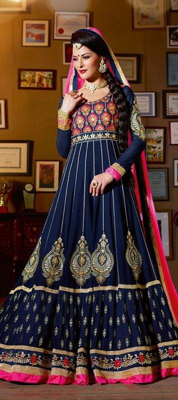 418421: #anarkali #festivewear #bridal #partywear 3blue #embroidery #sale #Diwali #wedding #onlineshopping #giftforher #onlinegifts #Ethnic #Indian