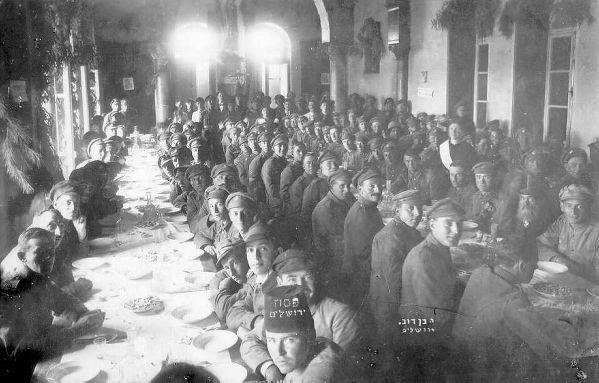 The Jewish Legion soldiers of the British army celebrating Passover in Jerusalem in 1918. (Harvard Library/Central Zionist Archives)