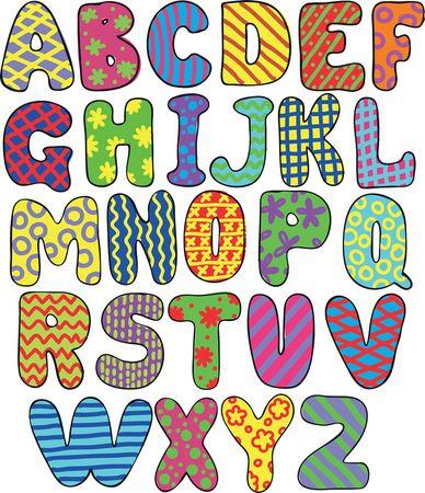 Cuadro de abecedario para niños, letras de arte infantil.                                                                                                                                                      Más