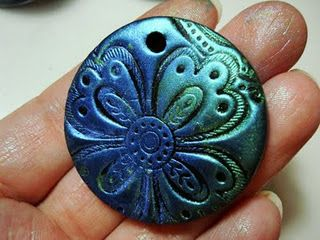 polymer clay pendant tutorial -using stamps and how to color.  Pinned by Colleen Hastings Independent Stampin' UP! Demonstrator