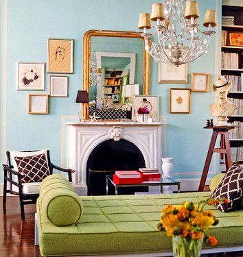 .: Mirror, Wall Colors, Living Rooms, Fireplaces Mantels, Blue Wall, Frames, Galleries Wall, Robins Eggs Blue, Design Home