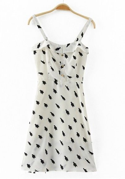 White Penguin Print Condole Belt Chiffon Dress