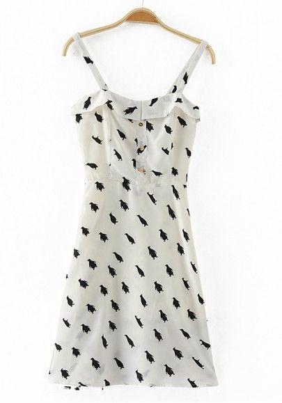 White Penguin Print Condole Belt Chiffon Dress