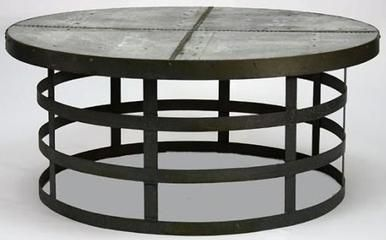 Coffee Table ALDEN Round Cold Rolled Steel Galvanized Tin New ZT-43