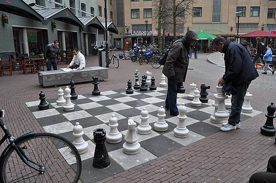 Giant chess board in Amsterdam.