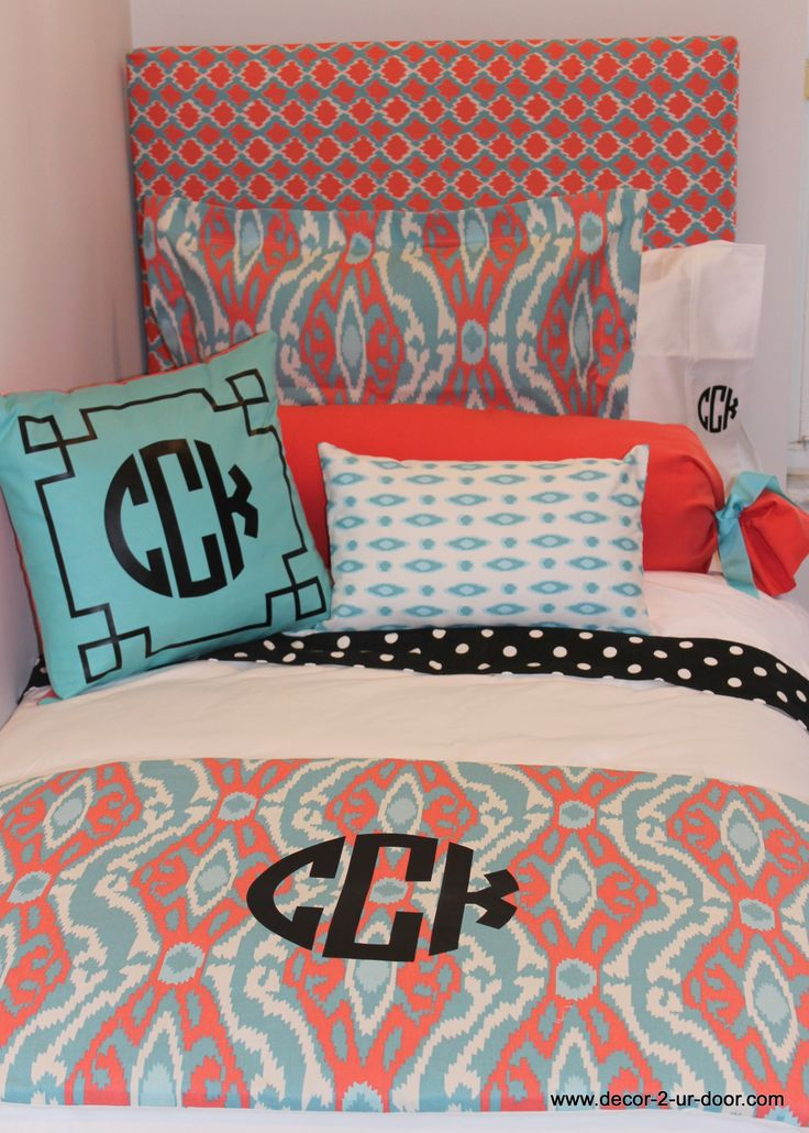 Custom Coral And Aqua Bedding With A Pop Of Black