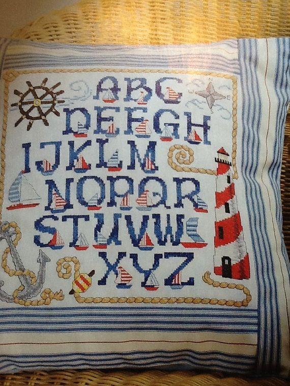 ABC alphabet sampler beach nautical cross stitch patterns in full color