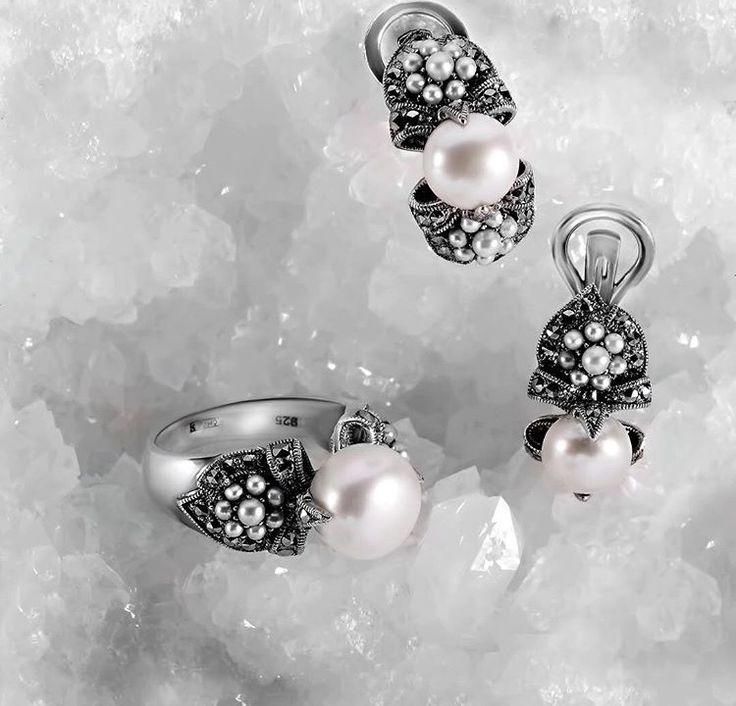 Белый жемчуг. Серебро. #оникс #laressjewellery #love #beautiful #instagram #style #like #beauty #repost #jewellery #laressart #art #moscow #russia #ручнаяработа