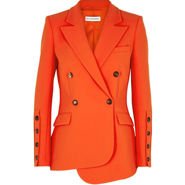 Altuzarra Wall Orange Double-breasted Blazer (7.440 RON) ❤ liked on Polyvore featuring outerwear, jackets, blazers, coats & jackets, orange blazer jacket, padded shoulder blazer, double breasted blazer, crepe blazer and altuzarra blazer